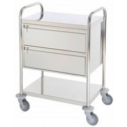 Chariot inox 2 plateaux avec 2 grands tiroirs fermeture à cle