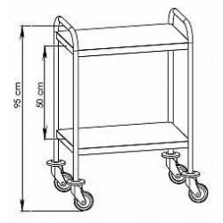 Chariot inox 2 plateaux bords relevés avec galeries et tiroirs