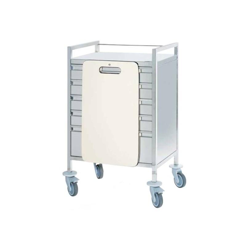 Chariot d'urgence inox 5 tiroirs plaque de massage cardiaque