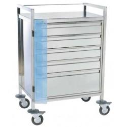 Chariot d'urgence inox 5 tiroirs fermeture centralisée par plomb