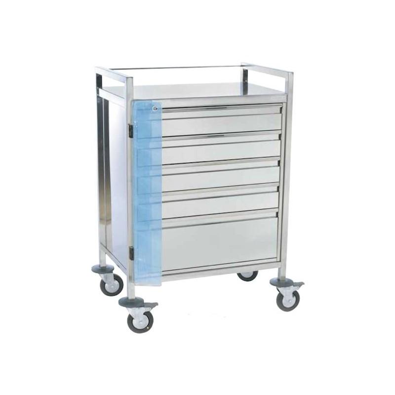 Chariot d'urgence inox d'urgence 5 tiroirs fermeture centralisée par plomb