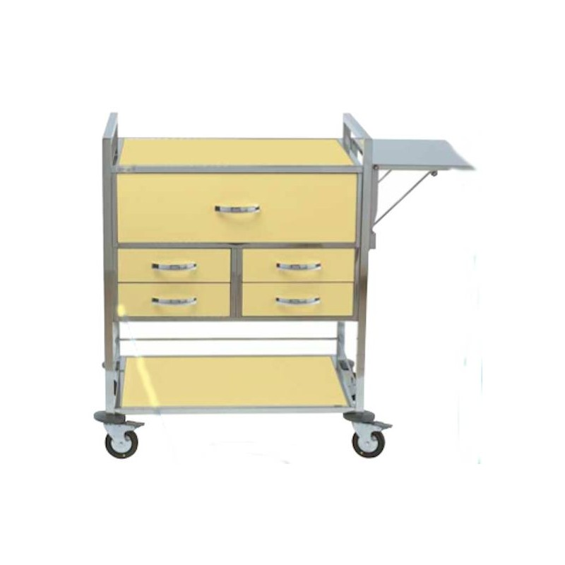 Chariot d'urgence couleur 5 tiroirs + niche et plateau