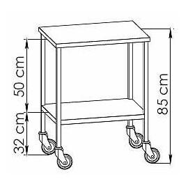 Table à instruments inox 2 plateaux résine