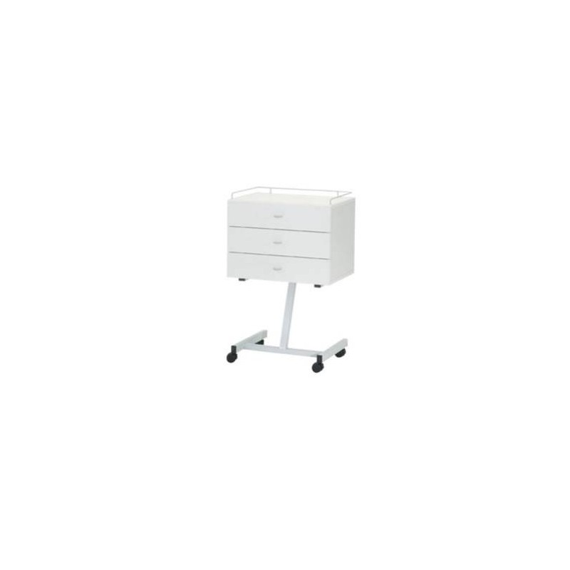 Gu ridon 3 tiroirs en stratifi blanc pied oblique carina - Pied bois oblique ...