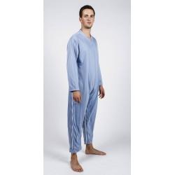 Pyjama de soin grenouillère avec fermeture éclair entre les jambes et fermeture éclair latéral