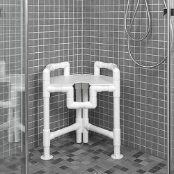 Tabouret « d'angles » pour cabines de douche (breveté) - Charge 120 kg