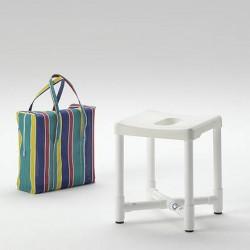 Tabouret de douche démontable avec sac de transport