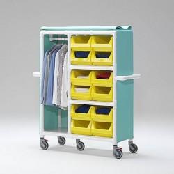 Chariot pour le transport des vêtements suspendus et de linge