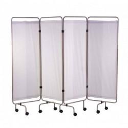Paravent inox 4 panneaux avec rideaux tendus blancs