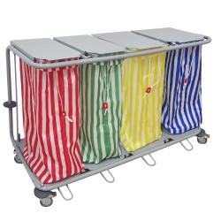 Chariot à linge 4 sacs
