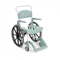 Chaise de douche et de toilettes à grandes roues