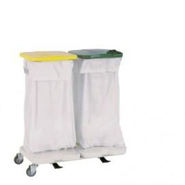 Chariot à linge support 2 sacs avec couvercle et pédale