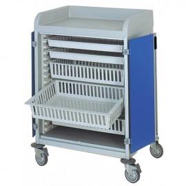 Chariot modulaire capacité 5 bacs 600x400x100mm