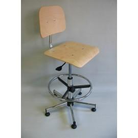 Chaise haute d'atelier acier chromé avec assise et dossier bois