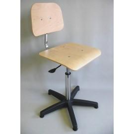 Siège acier chromé avec assise et dossier bois repose pieds