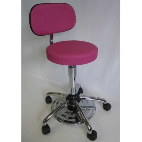 Tabouret médical commande au pied avec dossier et assise confort