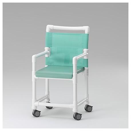 Chaise de douche avec assise polyuréthane et dossier textilène