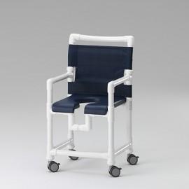 Chaise de douche + ouverture avec assise polyuréthane et dossier textilène
