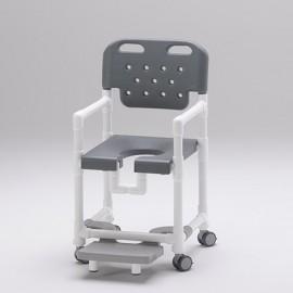 Chaise de douche assise ergonomique monobloc et repose pieds