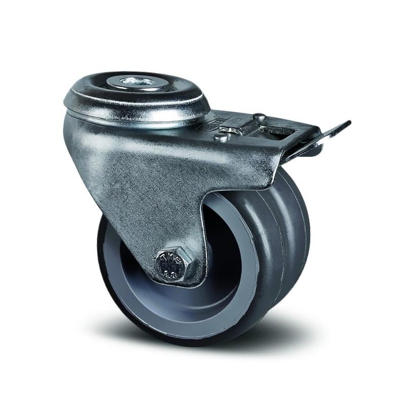 4 roues à freins double galet diam.50mm