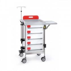 Chariot d'urgence complet 5 tiroirs 480x480mm