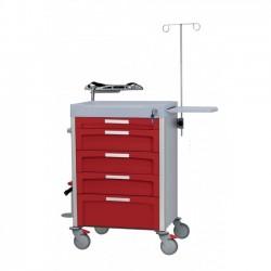 Chariot médical d'urgence complet 5 tiroirs