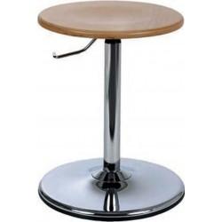 Tabouret bas sur socle avec assise bois