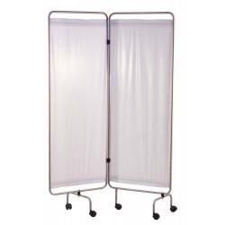 Paravent inox 2 panneaux avec rideaux tendus blancs